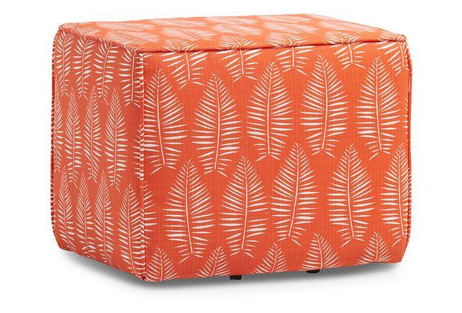 Breeze Orange Fabric Indoor/outdoor Accent Ottoman