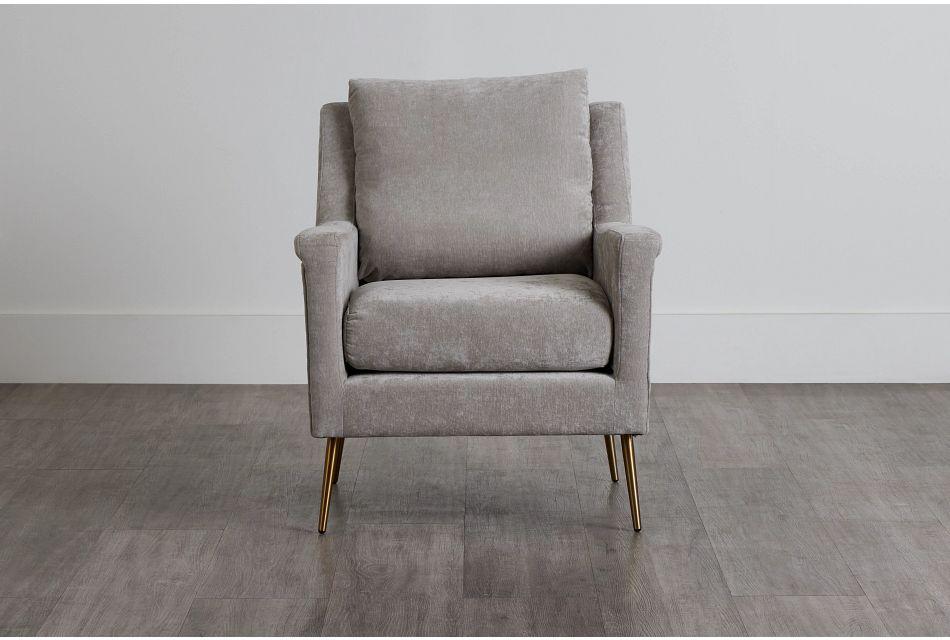Cambridge Light Gray Velvet Accent Chair,