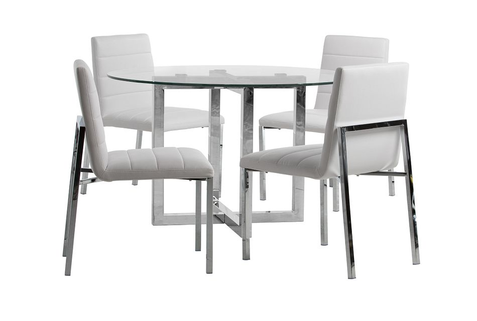 Amalfi White Glass Round Table & 4 Upholstered Chairs