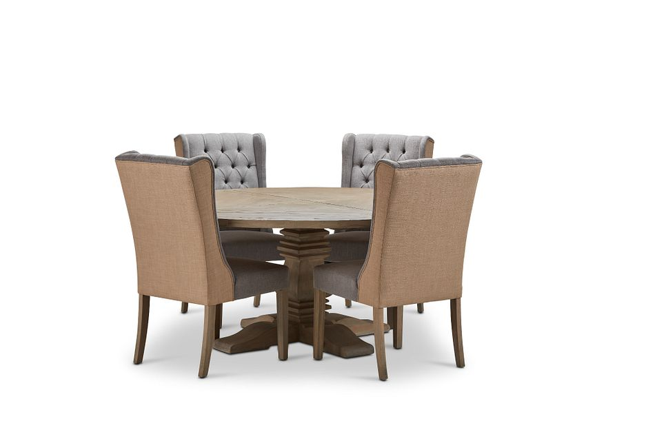 """Hadlow Gray 72"""" Table & 4 Tufted Chairs"""