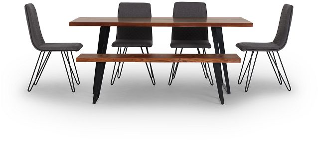 Shiloh Mid Tone Rect Table, 4 Chairs & Bench