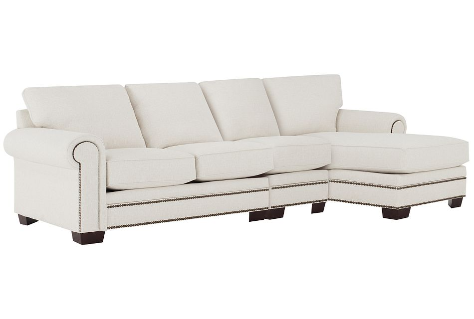 Foster White Fabric Small Right Chaise Sectional