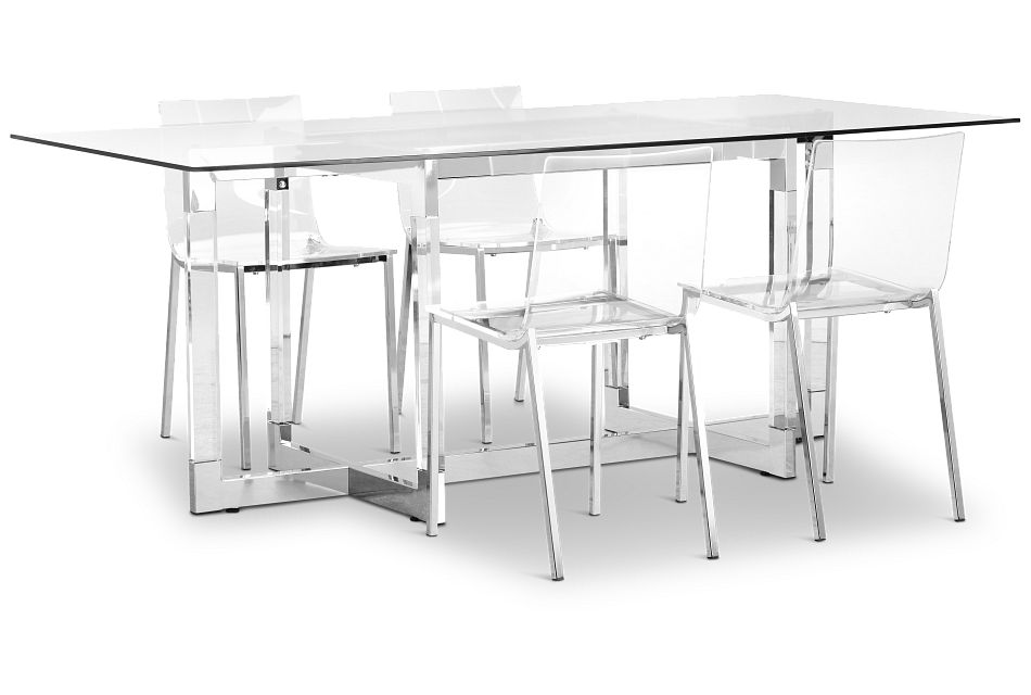Denmark Glass Rect Table & 4 Chairs,  (1)