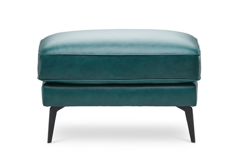 Naples Turquoise Leather Ottoman With Black Legs