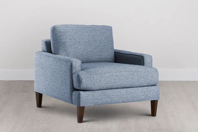 Morgan Blue Fabric Chair With Wood Legs (0)