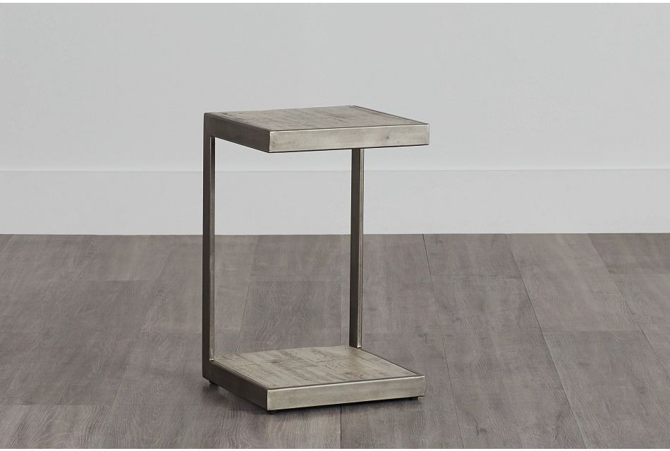 Amber Gray Wood Chairside Table
