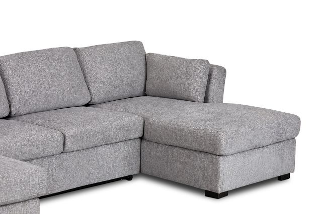 Amber Dark Gray Fabric Double Chaise Sleeper Sectional