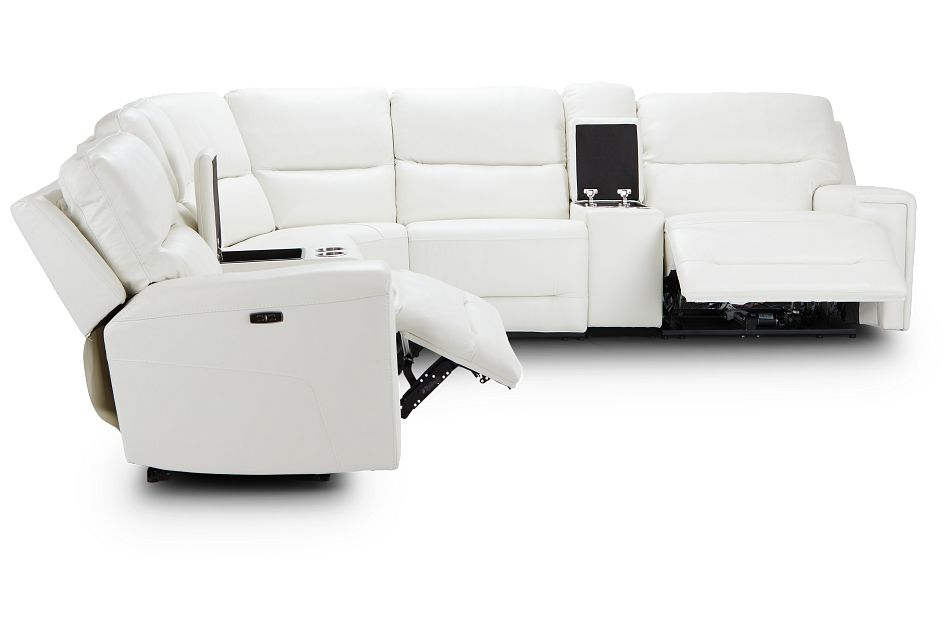 Porto White Lthr/vinyl Large Dual Power Sectional,  (2)