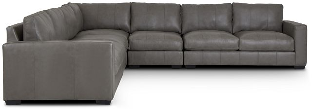 Dawkins Gray Leather Large Two-arm Sectional (1)