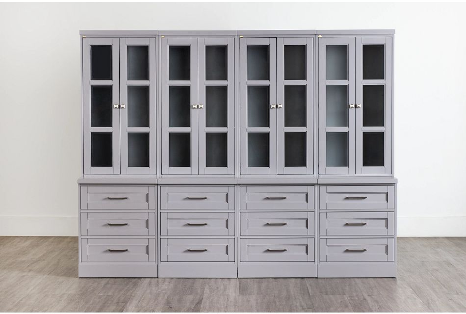 Newport Gray Drawer Bookcase Wall,  (0)