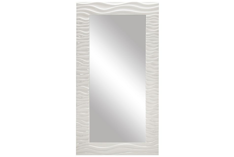 Ripple White Floor Mirror