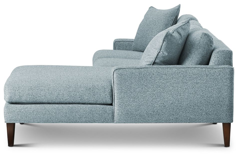 Morgan Teal Fabric Small Right Chaise Sectional W/ Wood Legs