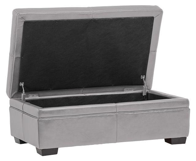 Carson Gray Leather Storage Ottoman (0)