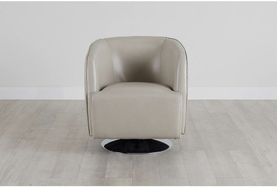 Alec Light Gray Micro Swivel Accent Chair