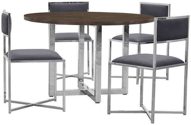 Amalfi Gray Wood Round Table & 4 Metal Chairs