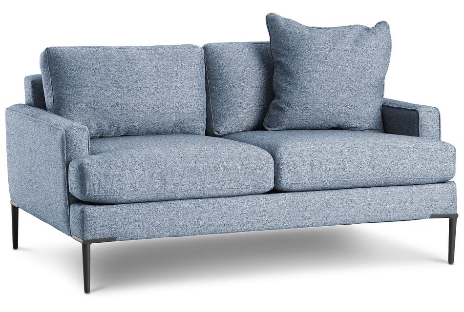 Morgan Blue Fabric Loveseat With Metal Legs