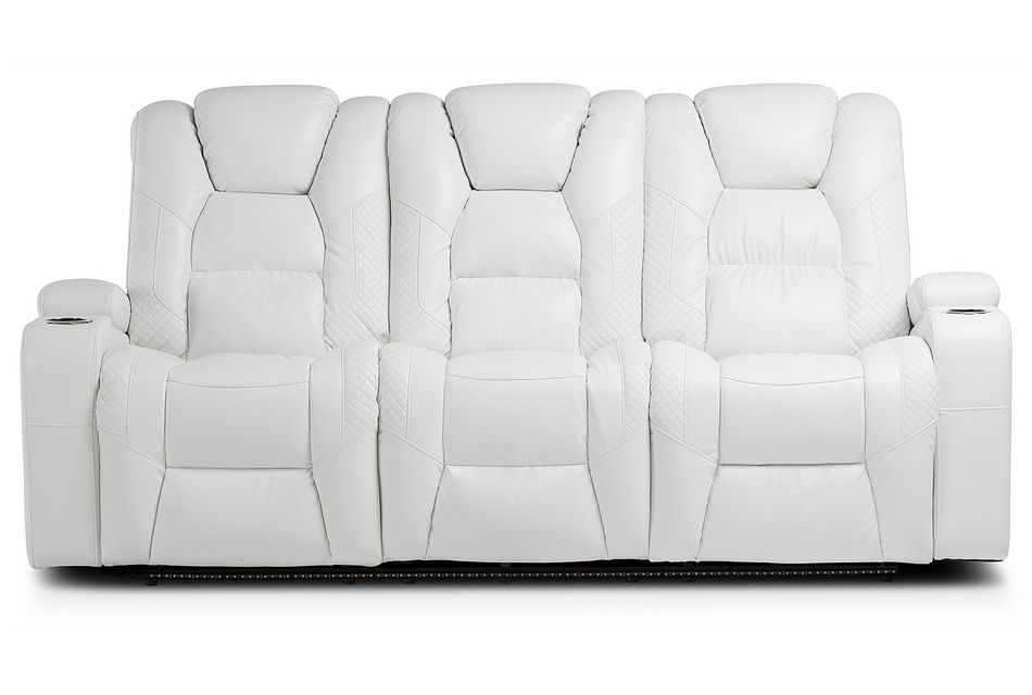 Troy White Micro Reclining Sofa