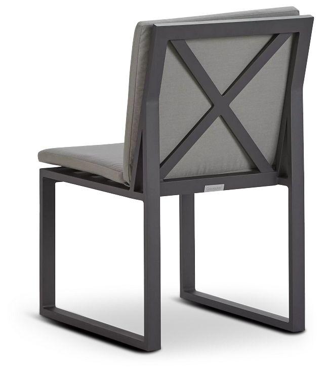 Linear Dark Gray Aluminum Cushioned Chair (3)