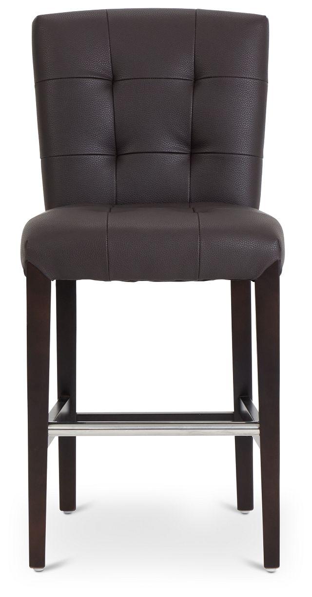 "Shelby Dark Brown Micro 24"" Upholstered Barstool (3)"