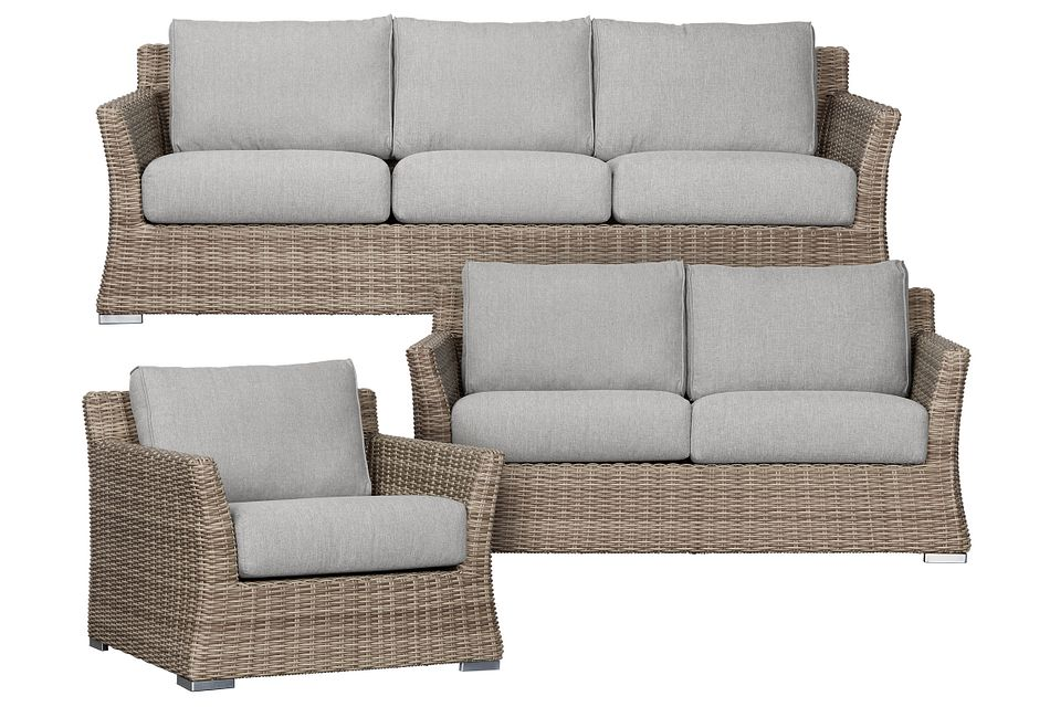 Raleigh Gray Woven Outdoor Living Room Set