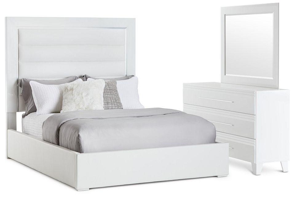 Midtown White Uph Platform Bedroom