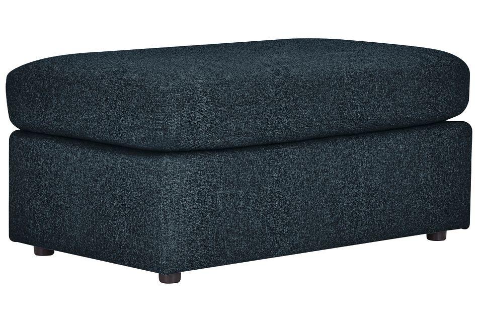 Noah Dark Blue  Fabric Ottoman,  (0)