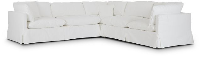 Raegan White Fabric Small Two-arm Sectional (1)