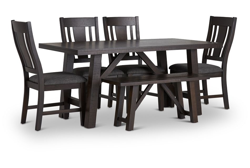 Cash Gray Rect Table, 4 Chairs & Bench