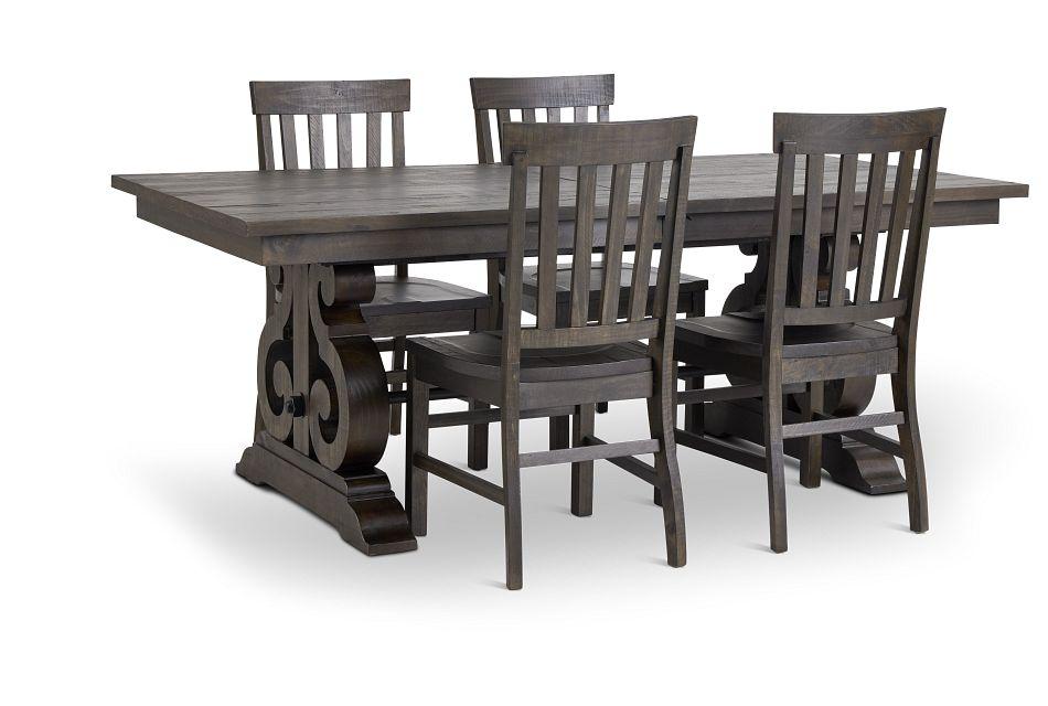 Sonoma Dark Tone Trestle Table 4 Wood, City Furniture Dining Room Sets
