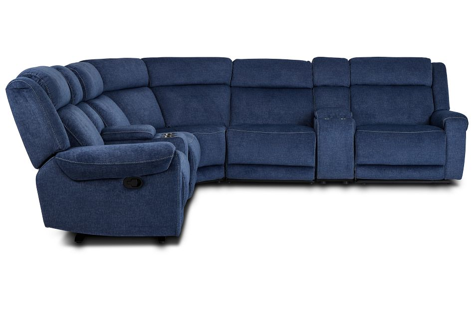 Beckett Dark Blue Micro Large Dual Manually Reclining Two-Arm Sectional,  (2)