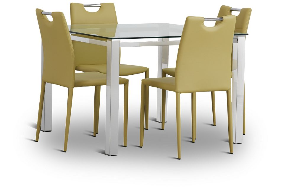 Skyline Light Green Square Table & 4 Upholstered Chairs,  (1)