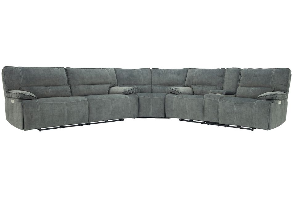 Jesse Dark Gray Micro Two-Arm Power Reclining Sectional,  (0)