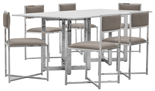Amalfi Taupe Marble Rectangular Table & 4 Metal Chairs (0)
