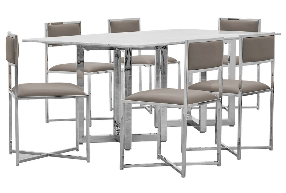 Amalfi Taupe Marble Rectangular Table & 4 Metal Chairs