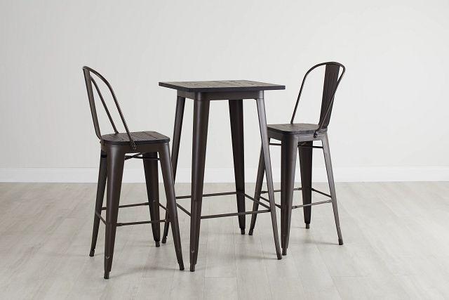 Harlow Dark Tone Pub Table & 2 Wood Barstools (0)