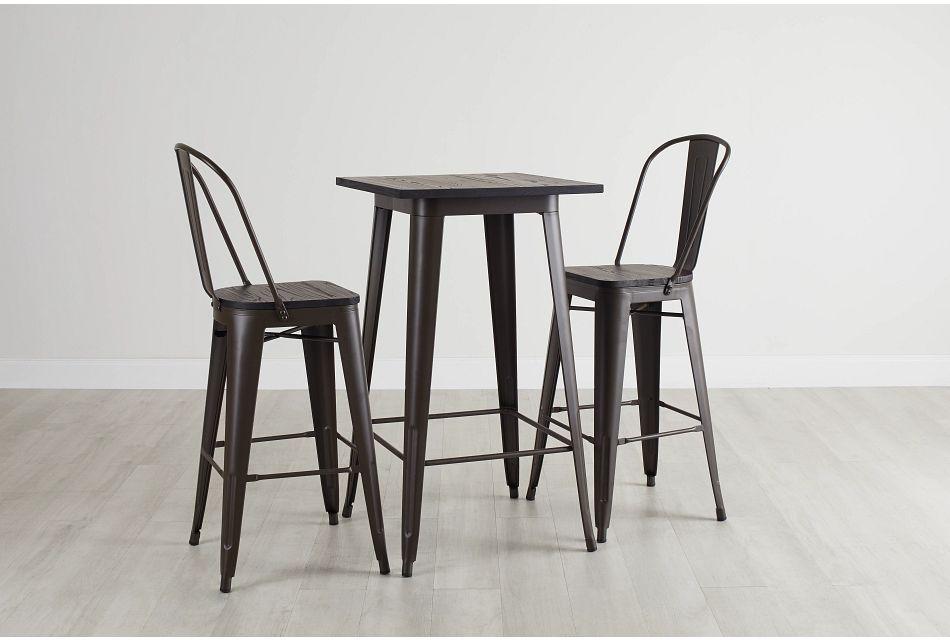 Harlow Dark Tone Pub Table & 2 Wood Barstools