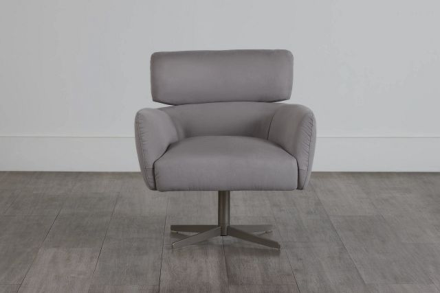 Wynn Light Gray Micro Swivel Accent Chair (2)