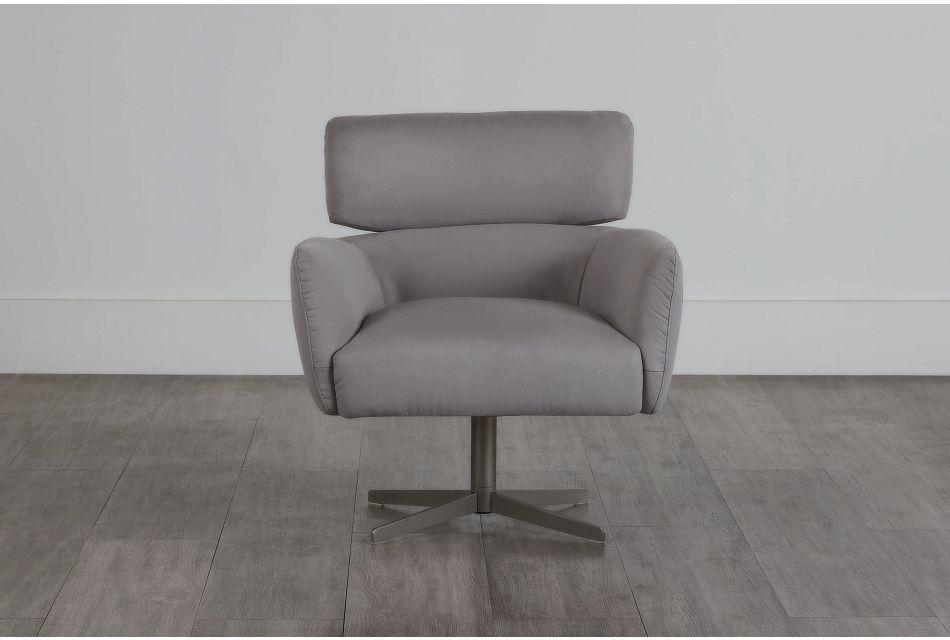Wynn Light Gray Micro Swivel Accent Chair,