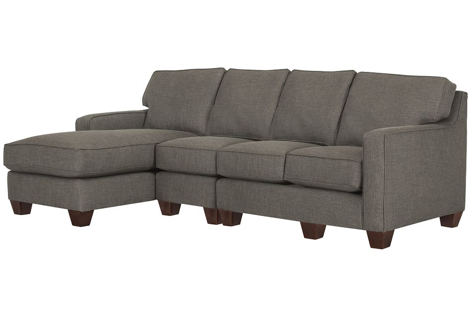 York Dark Gray Fabric Small Left Chaise Sectional
