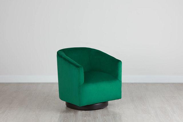 Charlotte Dark Green Velvet Swivel Accent Chair (0)
