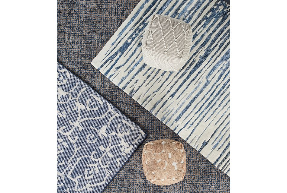 Liril Dark Blue 8x10 Area Rug