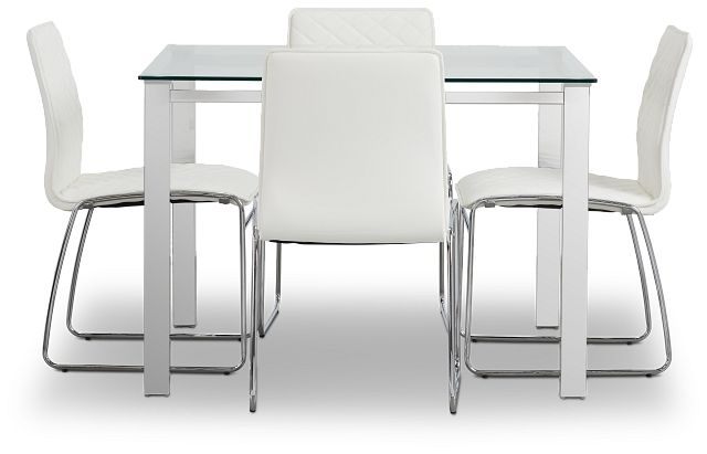 Skyline White Square Table & 4 Metal Chairs (2)