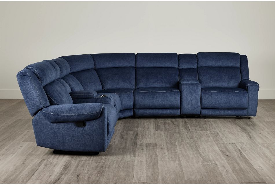Beckett Dark Blue Micro Large Dual Manually Reclining Two-Arm Sectional,  (0)