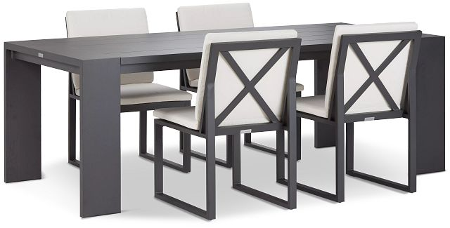 """Linear Dark Gray White 87"""" Aluminum Table & 4 Cushioned Side Chairs (0)"""