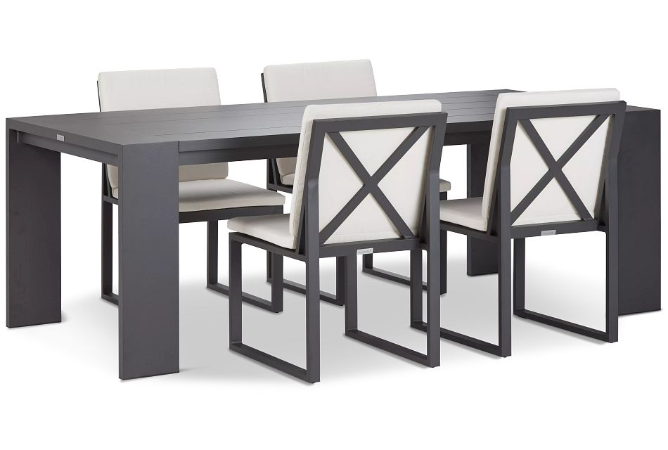 "Linear Dark Gray White 87"" Aluminum Table & 4 Cushioned Side Chairs"