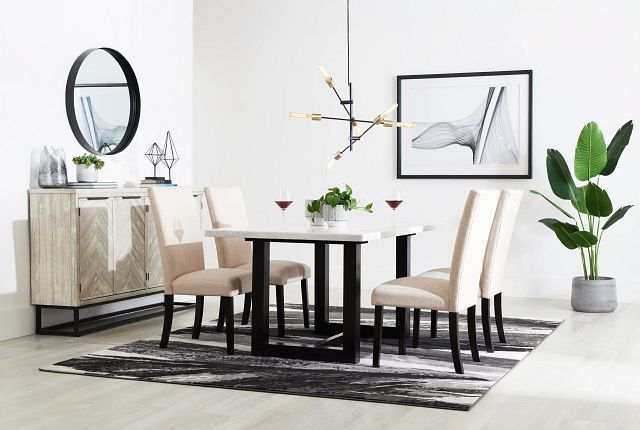 Paloma White Marble Rectangular Table & 4 Upholstered Chairs (1)