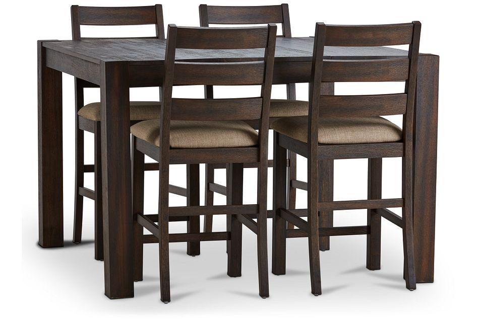 Holden Dark Tone Square High Table & 4 Upholstered Barstools
