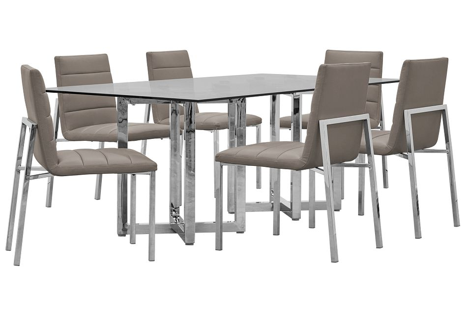 Amalfi Taupe Glass Rectangular Table & 4 Upholstered Chairs