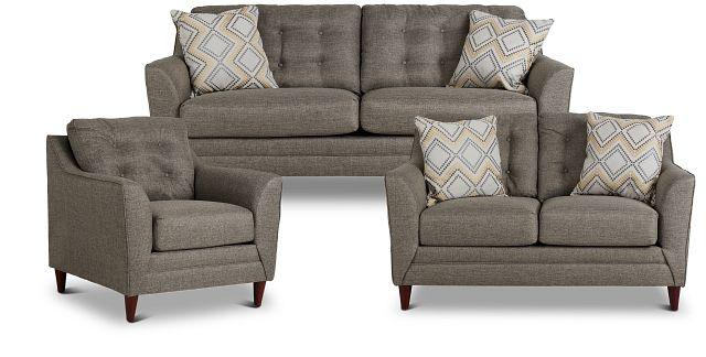 Jensen Dark Gray Fabric Living Room