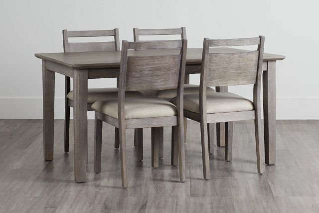 Rockville Light Tone Rect Table & 4 Upholstered Chairs (0)